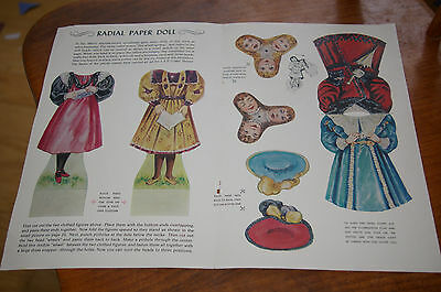 July 1958 Jack And Jill Magazine Pages Reproduction 1890's Radial Paper Dolls