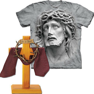 NEW (Set) Crown Of Thorns Desk Cross & The 3D Jesus Sculpture Image T-Shirt LG