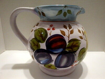 Pitcher 3 Qt Ceramic Glazed  Black Forest Fruits Vintage Heritage [Us Seller]