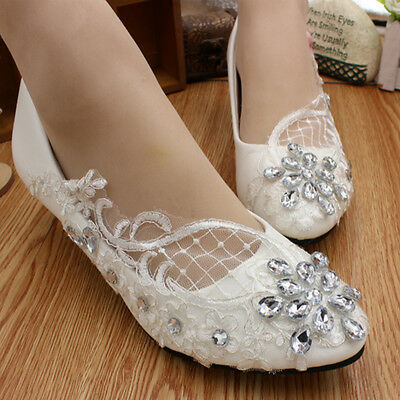 Women Lace White Crystal Wedding Shoes Bridal Flats Low High Heel Pump Size 4-10