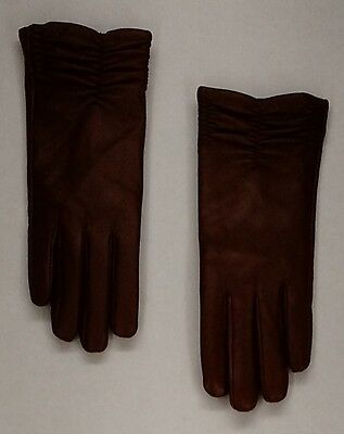 Excelled Sz L Lamb Leather Women' Gloves w/ Cashmere Lining Brown NEW