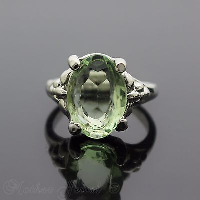 14Mm Light Green Sterling Silver Plated Cocktail Dress Womens Ring Size 7.5 O
