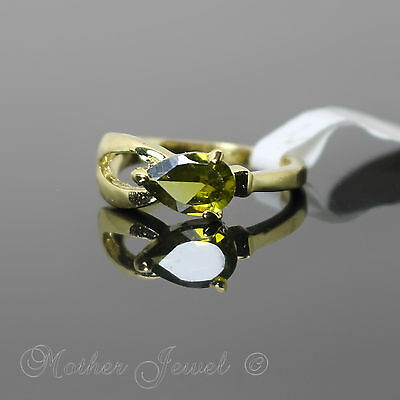 Peridot Green Solitaire Cz Womens Girls Yellow Gold Plate Ring Size 6.5 Small