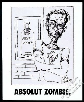 1995 Absolut Zombie Rob Zombie vodka bottle art vintage print ad
