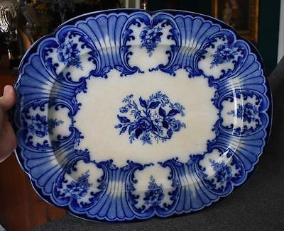Gorgeous Over Sized Blue & White Antique English Flow Blue Buccleuch Platter