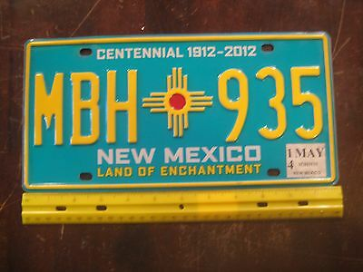 License Plate, New mexico, Centennial 1912 - 2012, Beauty! MBH - 935