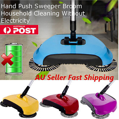 360° Spin Hand Push Broom Sweeper Household Floor Cleaning Mop NO Electricty AU