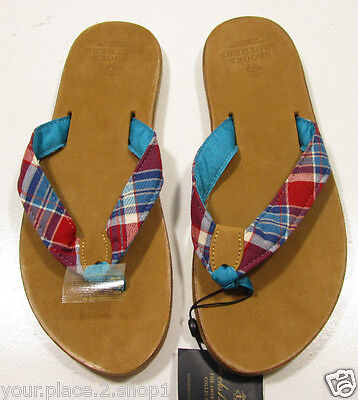 1c2db8583f87f BROOKS BROTHERS MEN S Madras Thong Flip Flop Chocolate Brown Sandals ...