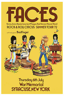 Classic Rock: Rod Stewart & Faces at Syracuse NY Concert Poster Circa 1972