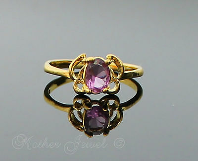 Great Gift Butterfly Light Purple Womens Girls Ladies Yellow Gold GP Ring Sz 8 P