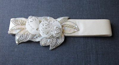 Vintage Beaded Fabric Flowers & Leaves Creamy Silk Bride Marriage Belt Unused