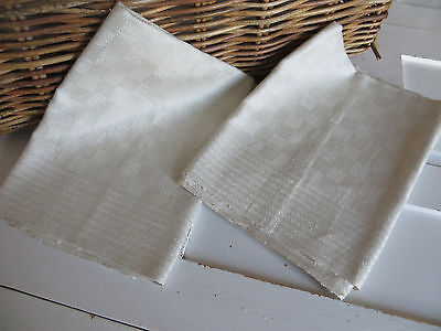 Unused Set Of Two ( 2 )  Towels Runners White Of Cream Checkerboard Linen German