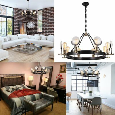 Best Vintage Lens Chandelier 8 Bulbs Matte Black&Antique Brass Pendant Lights US