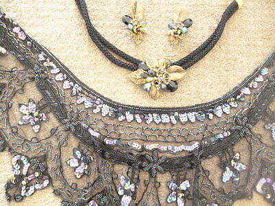 Vintage SHAWL - 1920's flapper style with NECKLACE and clip EARRINGS to die for!