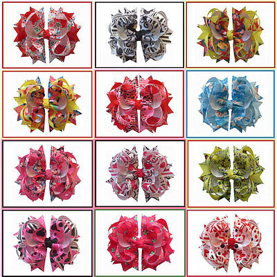 """12 BLESSING Happy Girl Hair Accessories Animation 4.5"""" C- Blossom Bow Clip"""