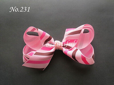 """100 Wholesale BLESSING Good Girl Baby Boutique 4.5"""" - 5"""" ABC Hair Bow Clip #474"""