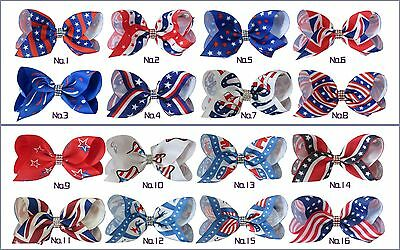 """20 BLESSING Good Girl Boutique 3.5"""" ABC Hair Bow Clip National Flag Accessories"""