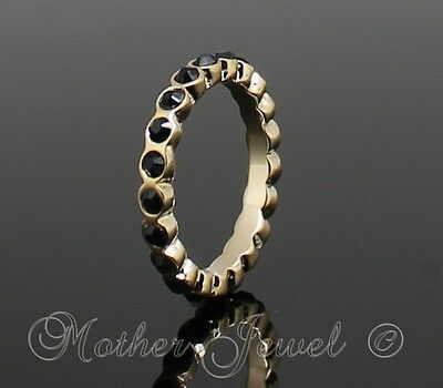 Yellow Gold Gp Ladies Girls Black Crystal Eternity Stackable Ring Size 8 P