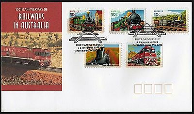 2004 150th Anniversary Railways in Australia P&S Stamp FDC