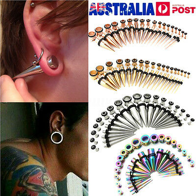 36pcs Gauges Stretching Steel Ear Taper Stretcher Tunnel Plugs Expander Kit AU