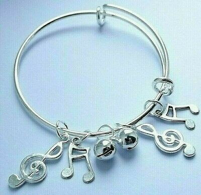 Silver Adjustable Bangle 50 Mm To 64 Mm 5-8 Y Music Notes Charms Bell Gift Box