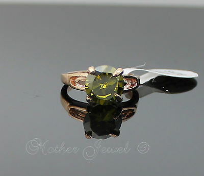 Round Peridot Green Cz Rose Gold Plate Dress Cocktail Ladies Girls Ring Sz 7.5