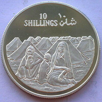 Somalia 1979 Camp Scene 10 Shillings Silver Coin,Proof