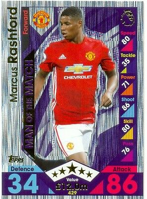 2016/2017 Topps Match Attax Man of the Match -Marcus Rashford- Manchester United