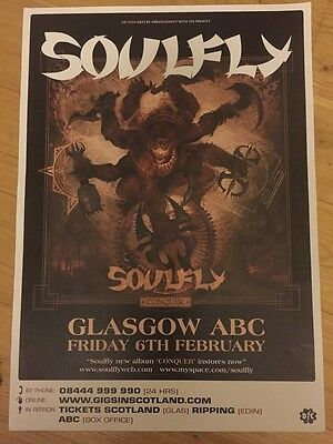 Soulfly  - Concert/gig poster, Feb 2009, Glasgow, Conquer