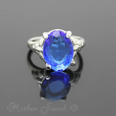 14Mm Royal Blue Sterling Silver Sp Fashion Dress Womens Girls Ring Size 5 J