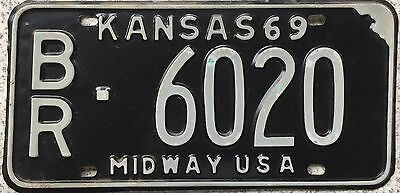 GENUINE American 1969 Kansas Midway USA License Number Plate 6020