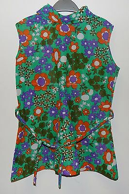 AUTHENTIC VINTAGE 1970's UNWORN GIRLS GREEN FLORAL HIGH NECK TOP AGE 5-6 YEARS