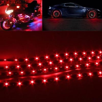 4X15 LED 12V 30cm Car Truck Motors Vehicle Flexible Waterproof Strip Light Red