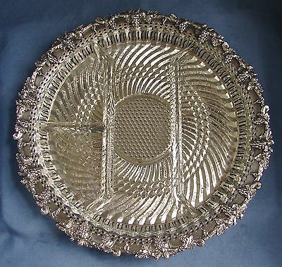 """Silver Plate On Copper Round Reticulated Grape 12"""" Tray + Divided Glass Insert"""
