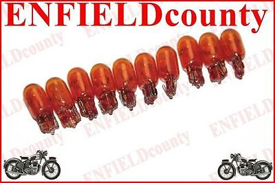 10 UNIT AMBER COLOR WEDGE BASE CAR SCOOTER BIKE BULBS 12V-3.4W 9.8/18/23mm @CAD