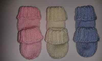 2 Pairs of Tiny baby, Early baby, Premature baby mittens in choice of 3 colours