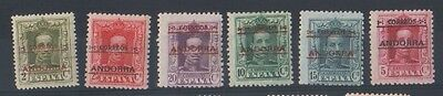 ANDORRA (SF1162)  SG  1c, 2A - 6A - 1928 values - Extremely lightly hinged