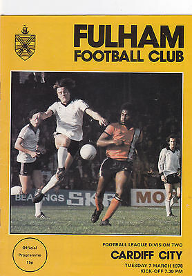 Fulham V Cardiff City 2Nd Division 7/3/78