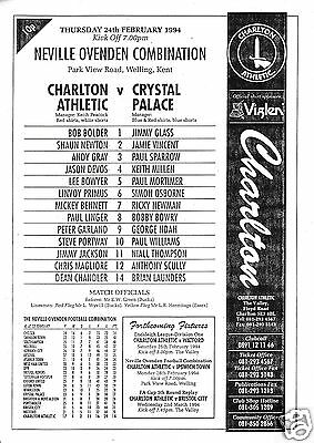 Charlton Athletic V Crystal Palace Reserves  Combination  24/2/94