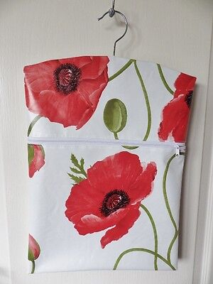 """Hand Made OILCLOTH Peg/Hanging Storage Bag Zipped 12½""""x16"""" LARGE POPPIES"""