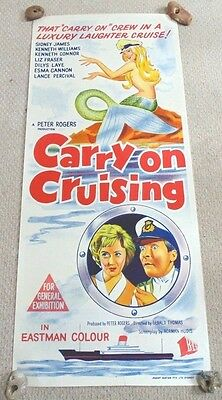 "Carry On Cruising Original Cinema Daybill Movie Poster 1962 Scarce ! 13"" X 30"""