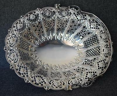 Breathtaking Antique Victorian Era German Silver Plate Handled Filigreed Basket