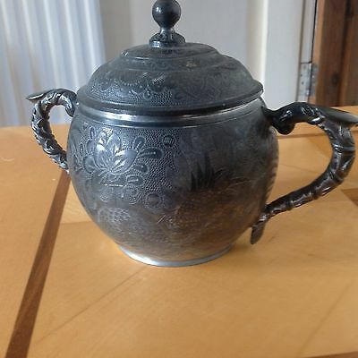 Antique chinese pewter Sugar Pot by kut hing.Swatow