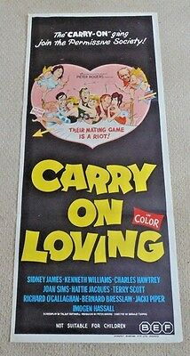 "Carry On Loving Original Cinema Daybill Movie Poster 1970 Scarce ! 13"" X 30"""