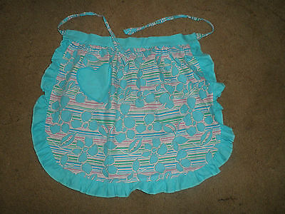 Vtg Waist Apron Pinny Heart Pocket