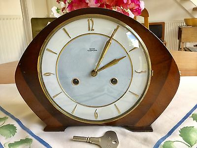 Lovely Smiths 'tempora' Striking Mantel Clock - Working With Key