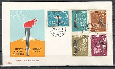 Albania, Scott cat. 616-620. Tokyo Summer Olympics issue. First day cover.