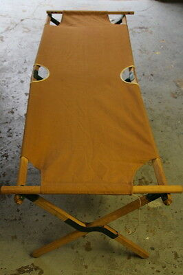 Vintage Canvas Wood Camp Cot Telescope Folding 1076 Made in the 60's