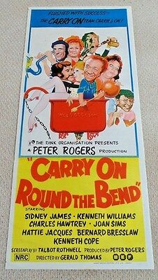 "Carry On Round The Bend Original Cinema Daybill Movie Poster 1971 13"" X 30"" Rare"