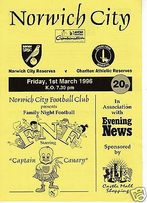 Norwich City  V Charlton Athletic  Reserves Combination Lge  1/3/96